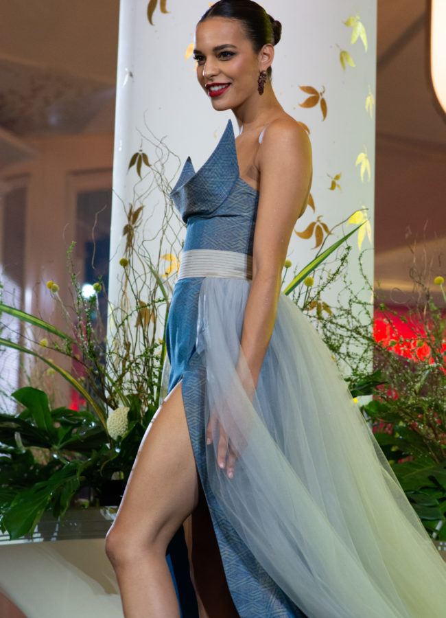 Rahima Dirkse, Miss Netherlands 2018 on stage during the Thai Fashion Show event at the Dusit Thani Bangkok on December 5th. The Miss Universe contestants are touring, filming, rehearsing and preparing to compete for the Miss Universe crown in Bangkok, Thailand. Tune in to the FOX telecast at 7:00 PM ET live/PT tape-delayed on Sunday, December 16, 2018 from the IMPACT Arena in Bangkok, Thailand to see who will become the next Miss Universe. HO/The Miss Universe Organization