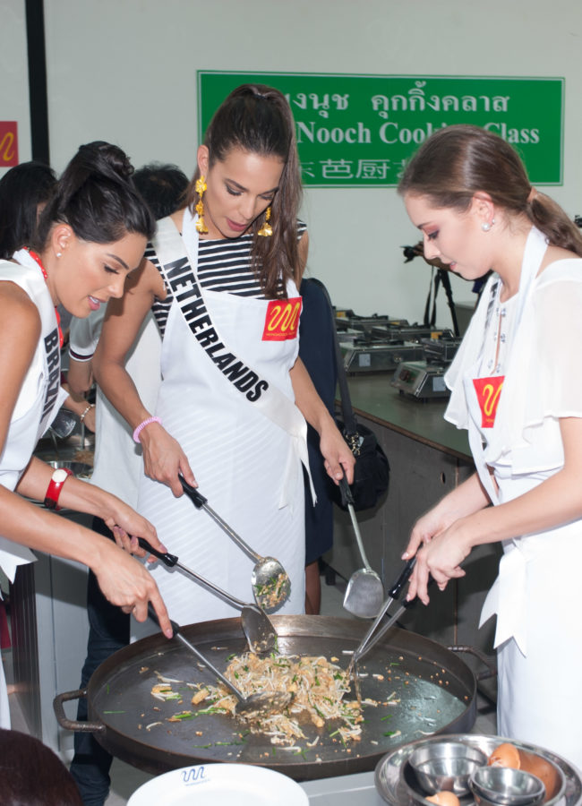 Mayra Dias, Miss Brazil 2018; Rahima Dirkse, Miss Netherlands 2018; and Filipa Barroso, Miss Portugal 2018; learn to make Pad Thai during an excursion to Nongnooch Botanical Garden in Pattaya, Thailand on December 7th. The Miss Universe contestants are touring, filming, rehearsing and preparing to compete for the Miss Universe crown in Bangkok, Thailand. Tune in to the FOX telecast at 7:00 PM ET live/PT tape-delayed on Sunday, December 16, 2018 from the IMPACT Arena in Bangkok, Thailand to see who will become the next Miss Universe. HO/The Miss Universe Organization
