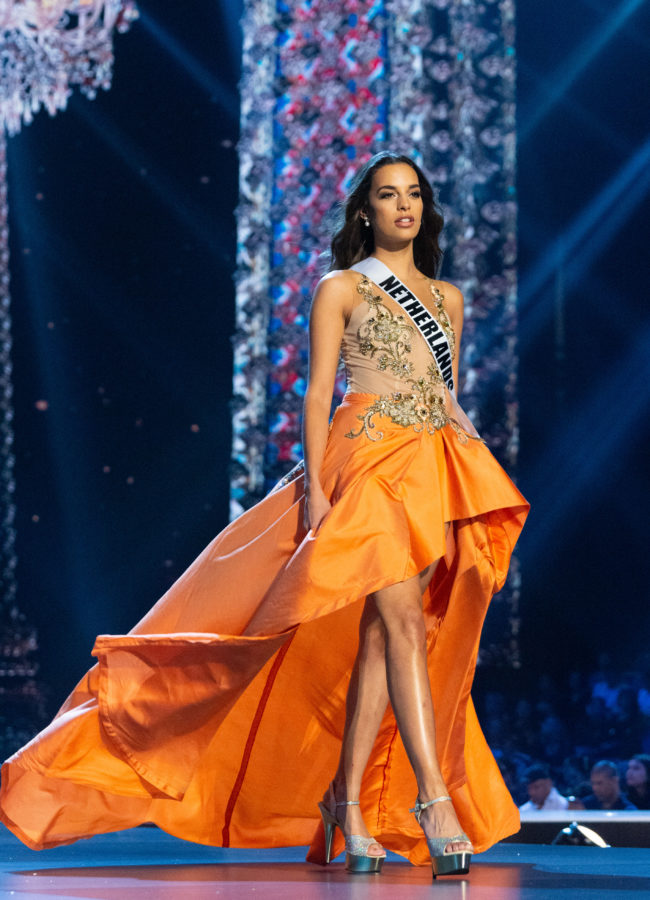 Rahima Dirkse, Miss Netherlands 2018 competes on stage in her evening gown during the MISS UNIVERSE® Preliminary Competition at IMPACT Arena in Bangkok, Thailand on Thursday, December 13th. The Miss Universe contestants have been touring, filming, rehearsing and preparing to compete for the Miss Universe crown in Bangkok, Thailand. Tune in to the FOX telecast at 7:00 PM ET live/PT tape-delayed on Sunday, December 16, 2018 from the IMPACT Arena in Bangkok, Thailand to see who will become the next Miss Universe. HO/The Miss Universe Organization